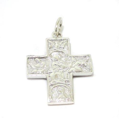 Colgante cruz románica plata gruesa