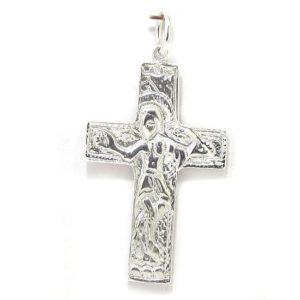 Colgante cruz románica plata grande