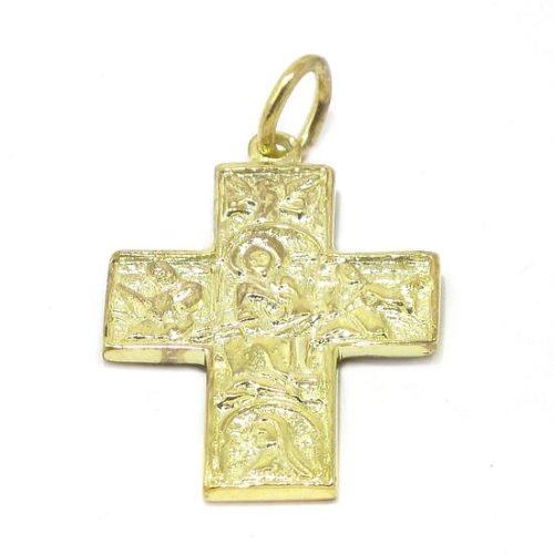 Colgante cruz románica plata amarilla gruesa