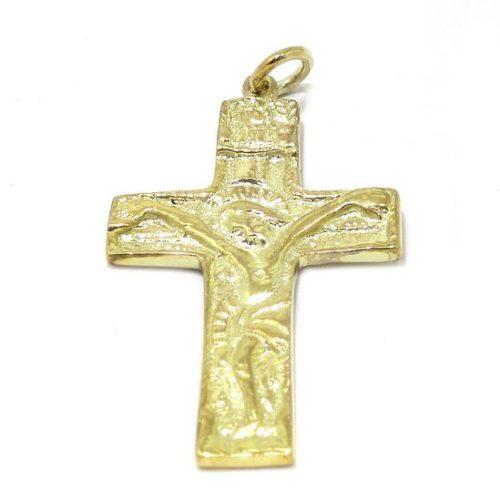 Colgante cruz románica plata amarilla grande