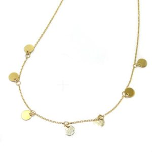 Collar fino 7 colgantes circulos oro