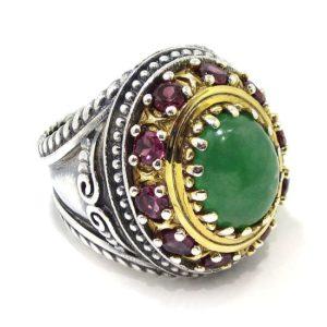 Anillo plata bicolor jade verde