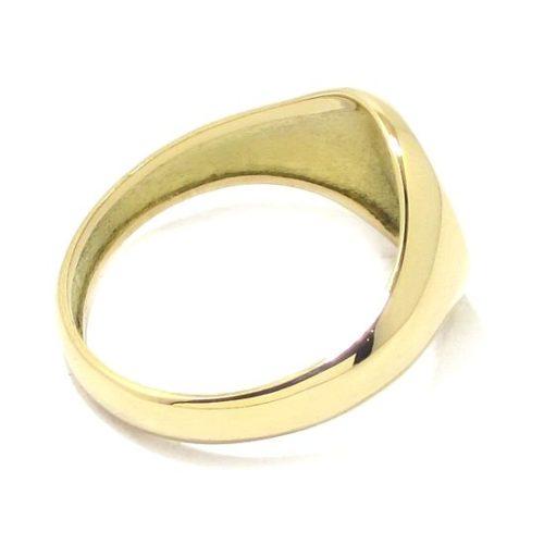 Anillo Sello oval bajorrelieve escudo logo oro