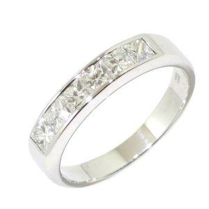 Anillo alianza 6 diamantes princesa 0.74ct oro