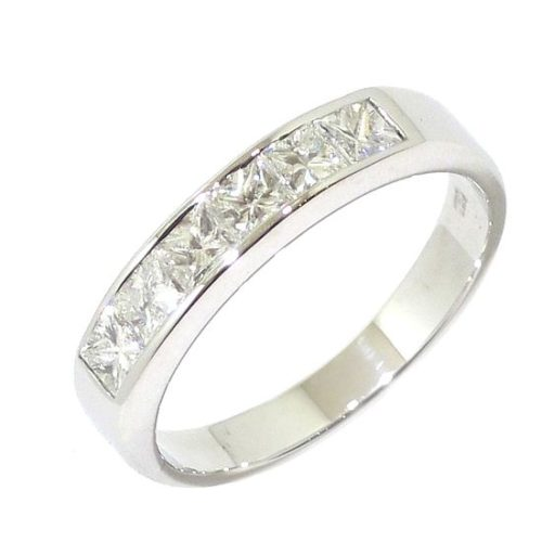 Anillo alianza 6 diamantes princesa 0.74ct oro