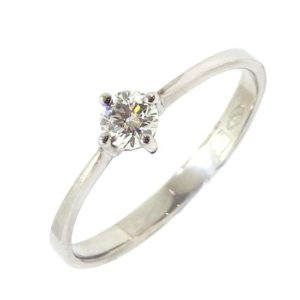 Anillo Solitario diamante brillante 0.20ct garras oro