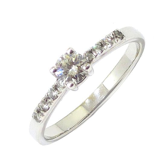 Anillo Solitario diamante brillante 0.22ct 6 diamantes oro