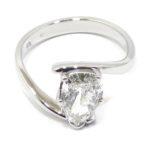 Anillo solitario oro blanco diamante pera 1.37ct