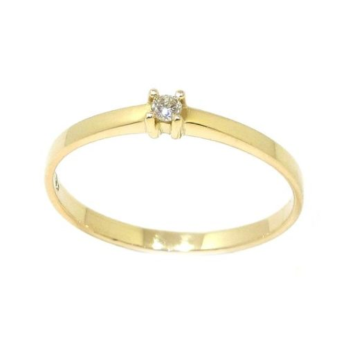 Anillo solitario diamante brillante 0.02ct garras oro