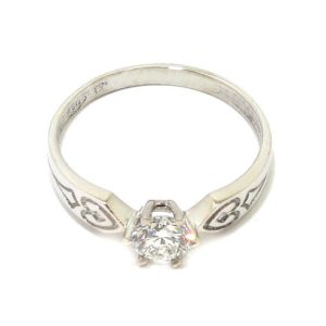 Anillo Solitario diamante brillante 0.41ct 6 garras oro