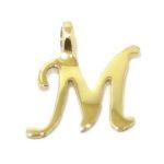 Colgante inicial letra M oro amarillo