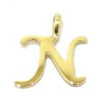 Colgante inicial letra N oro amarillo