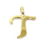 Colgante inicial letra T oro amarillo