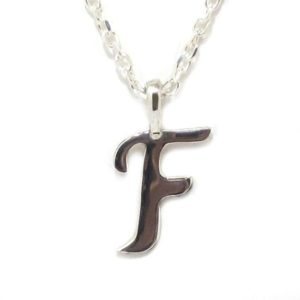 Colgante inicial F cadena plata
