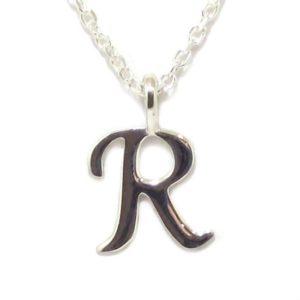 Colgante inicial R cadena plata
