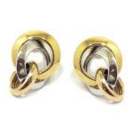 Pendientes 2 aros anilla oro tricolor