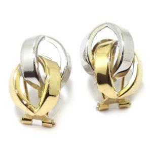 Pendientes aretes entrelazados oro bicolor