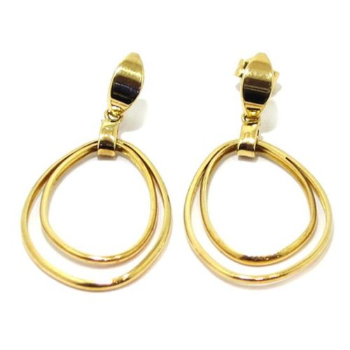 Pendientes aros dobles colgantes ovalados oro