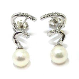 Pendientes espiral perla 7.1mm brillantes oro