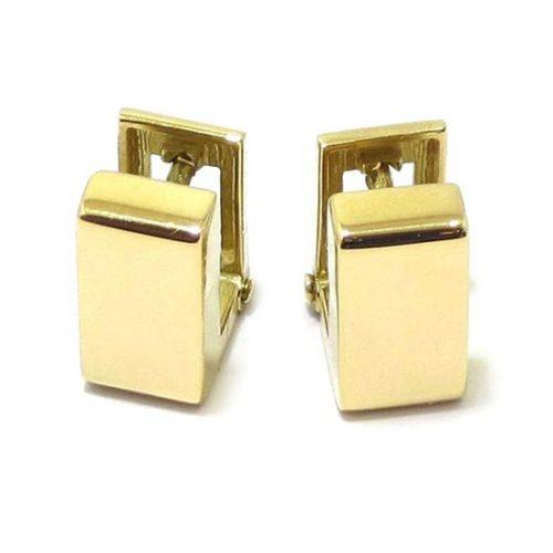 Pendientes rectangulares cubo oro