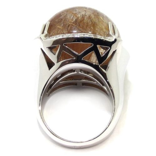 Anillo diamantes cuarzo rutilado cabujon oro blanco
