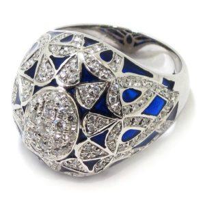 Anillo diamantes esmalte azul oro blanco