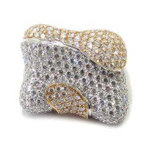 Anillo diamantes pavé oro blanco/rosa