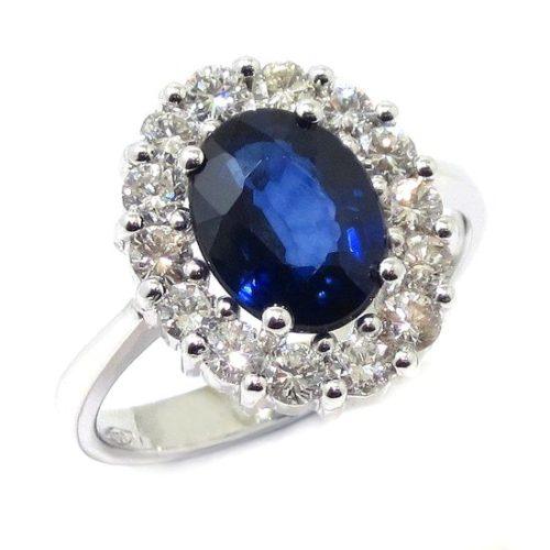 Anillo zafiro oval diamantes oro blanco