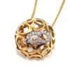 Collar colgante bola oro rosa diamantes