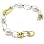 Pulsera oro blanco amarillo perlas australianas