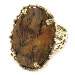 Anillo cuarzo dendrita plata dorada