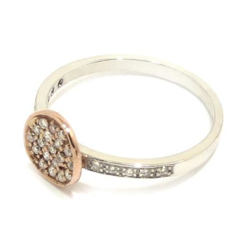 Anillo diamantes oro blanco rosa