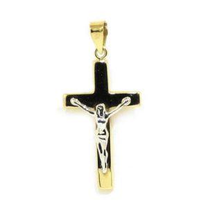 Colgante crucifijo 21mm amarillo blanco