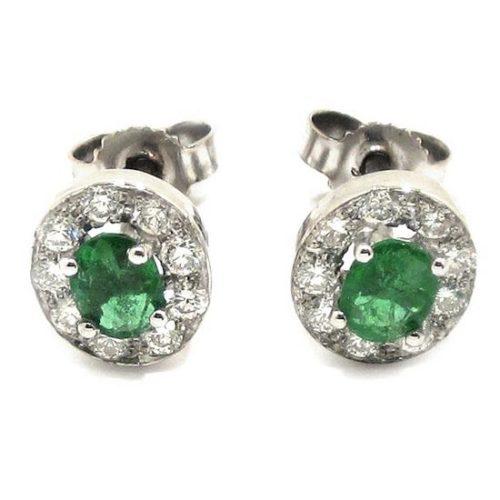 Pendientes oro blanco esmeraldas diamantes
