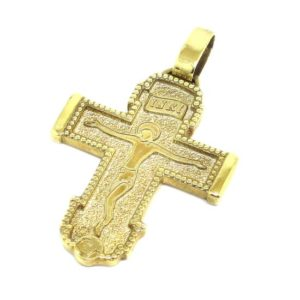 Cruz colgante bizantina 32mm plata dorada