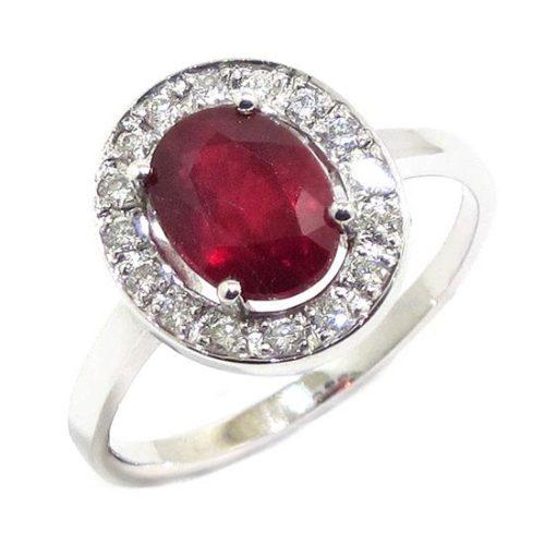 Anillo oro blanco rubi oval diamantes