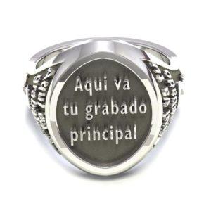 Anillo sello oval personalizable plata