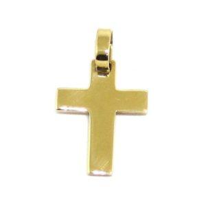 Colgante Cruz recta 18mm oro amarillo