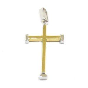 Colgante Cruz recta 25mm oro amarillo blanco