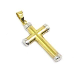 Colgante Cruz recta 22mm tubo oro amarillo blanco